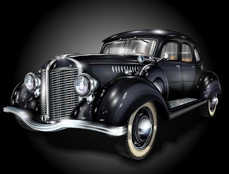 black car: Retro car.