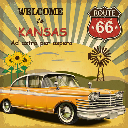 Welcome to Kansas retro poster. Ilustrace