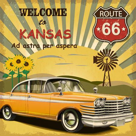 road trip: Welcome to Kansas retro poster. Illustration
