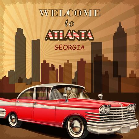 Atlanta retro poster에 오신 것을 환영합니다. 일러스트