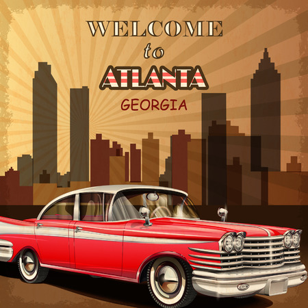 fifties: Welcome to Atlanta retro poster. Illustration