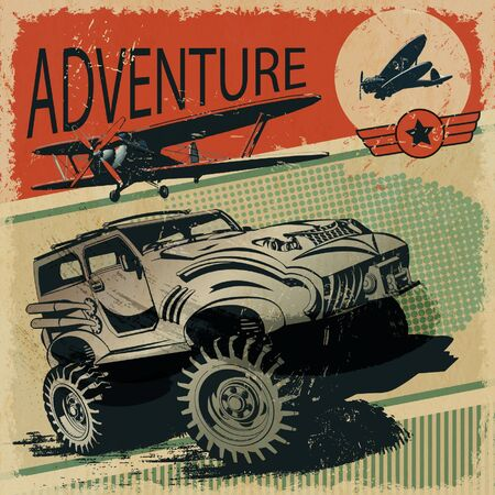 off road: Adventure grunge poster
