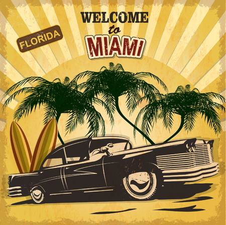 old cars: Welcome to Miami retro poster.