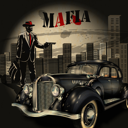 mafia or gangster background Иллюстрация