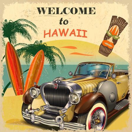 하와이 복고풍 포스터에 오신 것을 환영합니다.