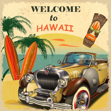 Welcome to Hawaii retro poster. Çizim