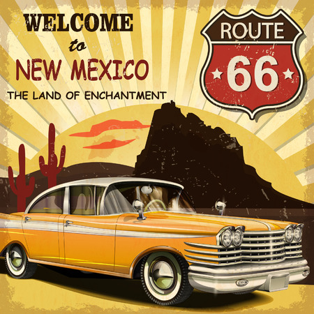 old cars: Welcome to New Mexico retro poster.