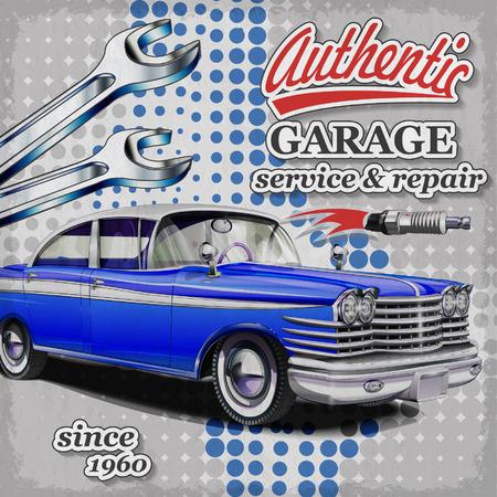 repair shop: Authentic service retro poster