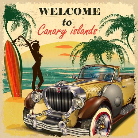 Witamy na Wyspach Kanaryjskich retro plakatu. Ilustracje wektorowe