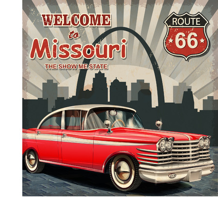 route: Welcome to Missouri retro poster. Illustration