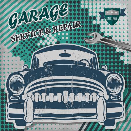 garage: Vintage garage retro banner Illustration