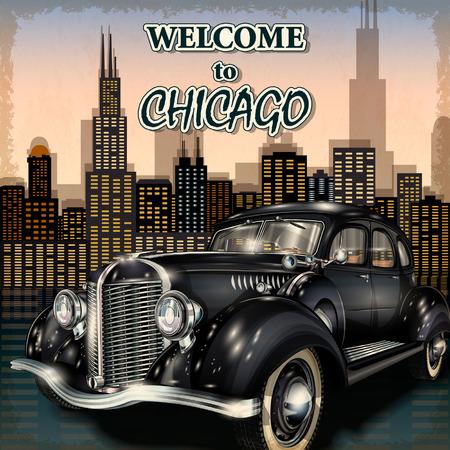 시카고 복고풍 포스터에 오신 것을 환영합니다. 일러스트