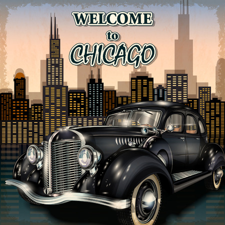 old cars: Welcome to Chicago retro poster.