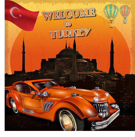 automobiles: Welcome to Turkey retro poster. Illustration