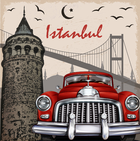 turkey istanbul: Istanbul retro poster.