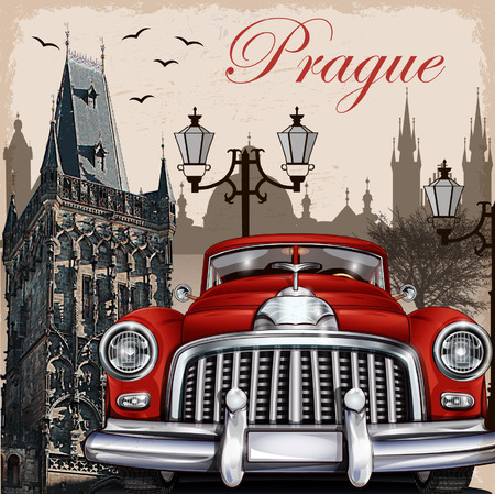czech republic: Prague retro poster.