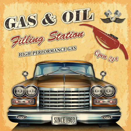 Tankstelle Retro- Fahne Vektorgrafik