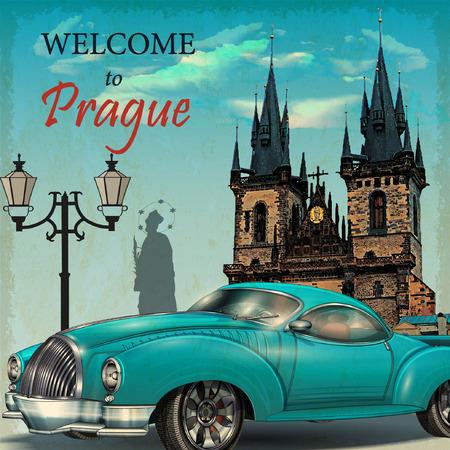 Welcome to Prague retro poster