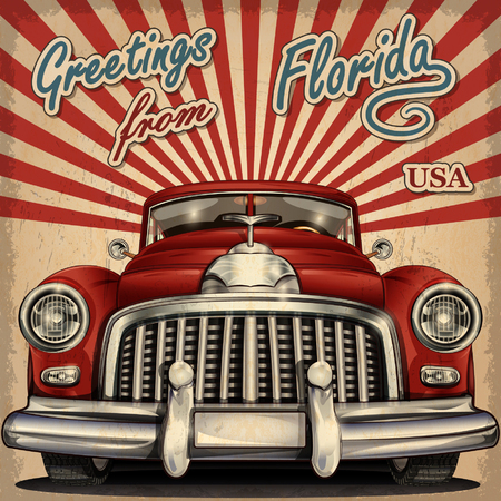 Vintage touristic greeting card with retro car. Vectores