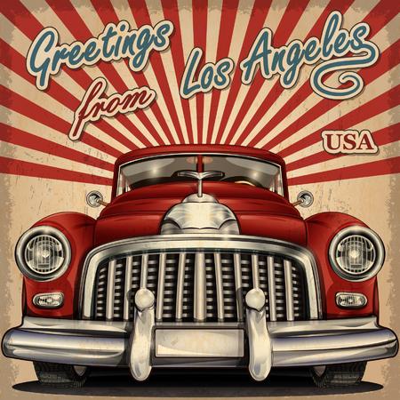 tarjeta de felicitación de la vendimia con retro turístico car.Los Ángeles.