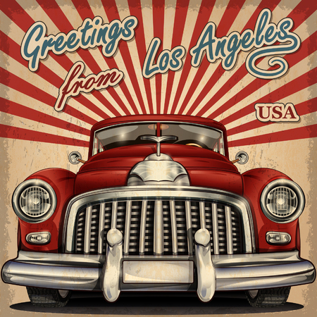 touristic: Vintage touristic greeting card with retro car.Los Angeles. Illustration
