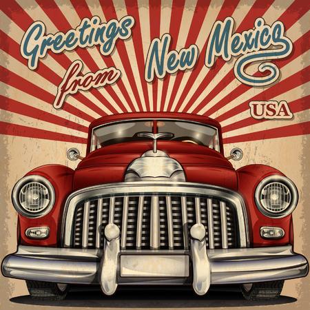 touristic: Vintage touristic greeting card with retro car.New Mexico.