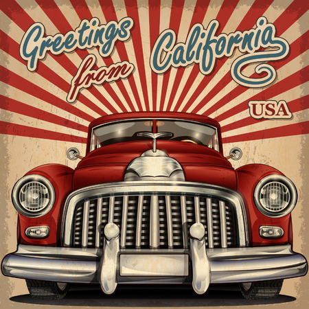 vintage card: Vintage touristic greeting card with retro car.California.