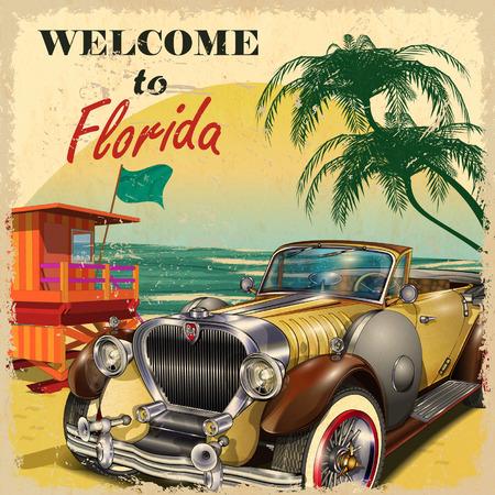 tarjeta postal: Bienvenido al cartel retro de la Florida.