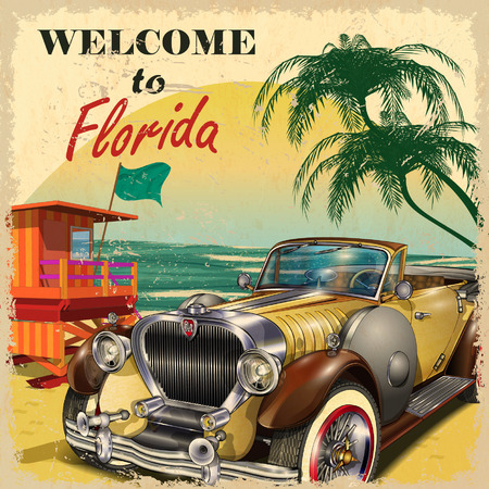 florida beach: Welcome to Florida retro poster.