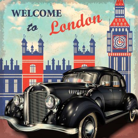 런던 복고풍 포스터에 오신 것을 환영합니다. 일러스트