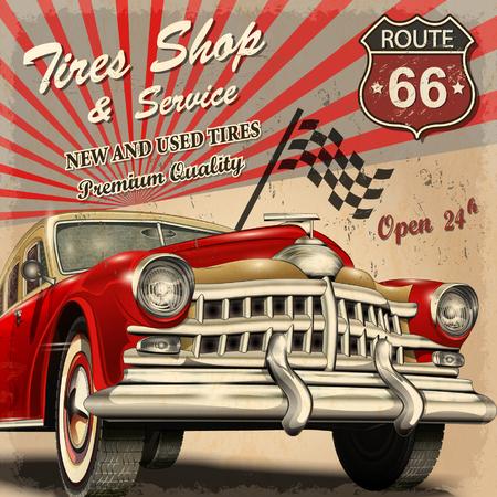 silhouette voiture: Service de pneu rétro de l'affiche. Illustration