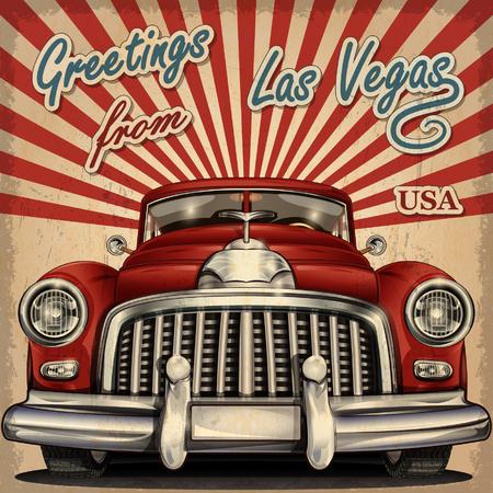レトロな車でビンテージ観光グリーティング カード。ラスベガス。