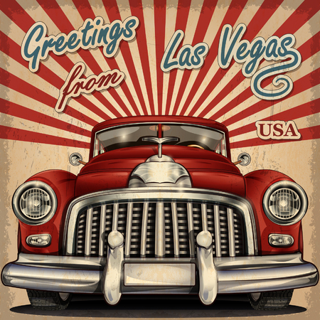 Vintage touristic greeting card with retro car.Las Vegas.