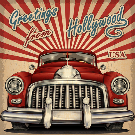 Vintage touristic greeting card with retro car Stock Illustratie