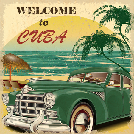 old cars: Welcome to Cuba retro poster. Illustration