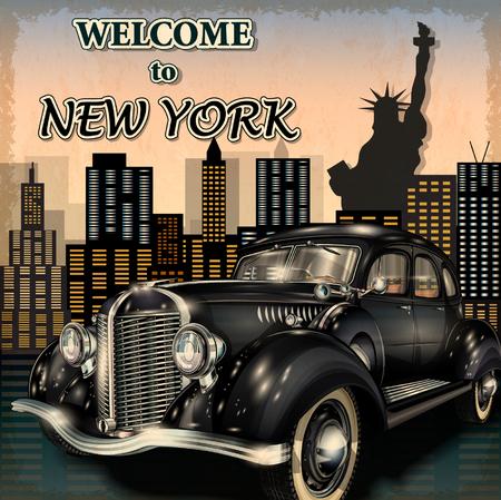 Bienvenue à New York, affiche rétro. Banque d'images - 54500656