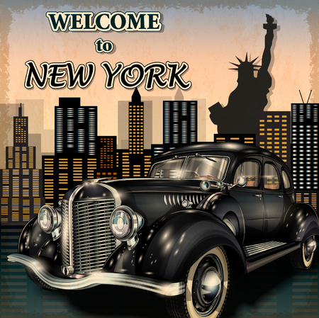 vintage poster: Welcome to New York retro poster.