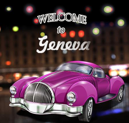 Cartel de bienvenida en Ginebra. Ilustración de vector