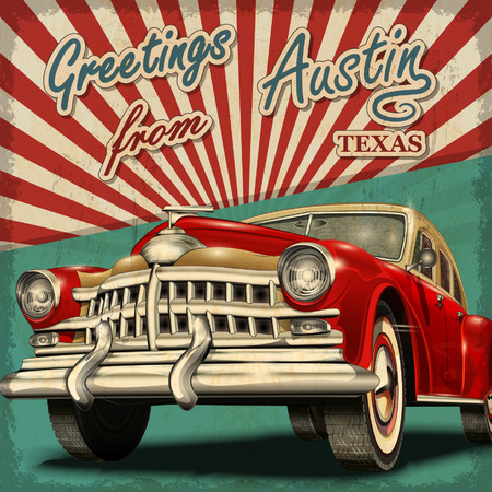 Vintage touristic greeting card with retro car.Austin.Texas. Zdjęcie Seryjne - 54500659