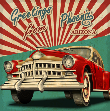 40s: Vintage touristic greeting card with retro car.Phoenix.Arizona.
