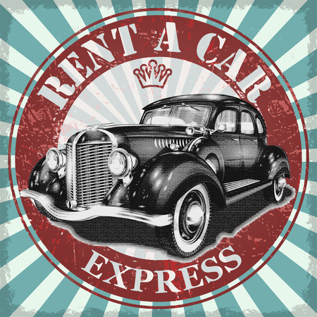 Huur een auto retro poster. Vector Illustratie