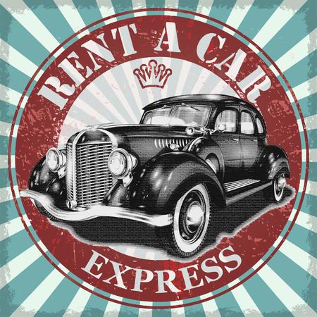 Wynajem plakat samochód retro. Ilustracje wektorowe