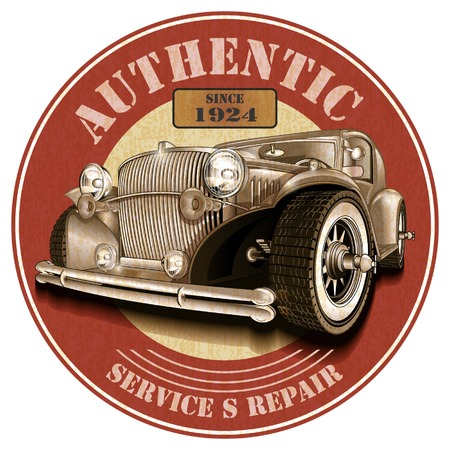 authentic: Authentic service rubber stamp Illustration
