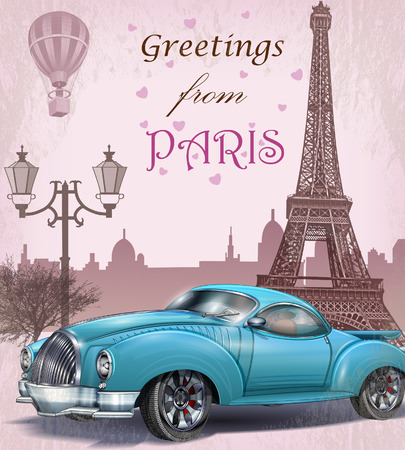 빈티지 관광 인사말 card.Paris.