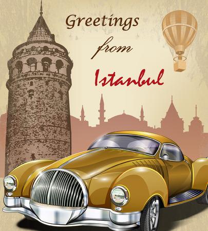touristic: Vintage touristic greeting card.Istanbul. Illustration