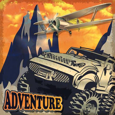adventures: Adventure grunge poster