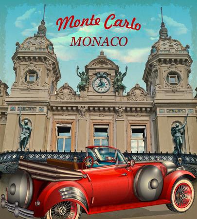 몬테 카를로 복고풍 포스터. 일러스트