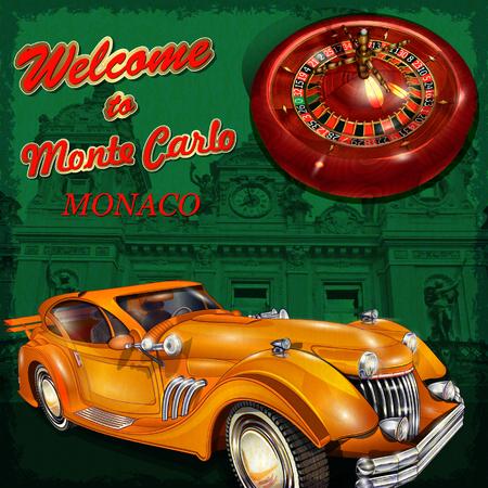 carlo: Welcome to Monte Carlo retro poster.