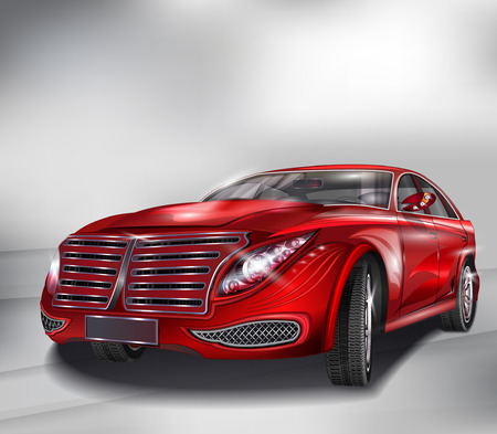 speed car: Red Sedan Car