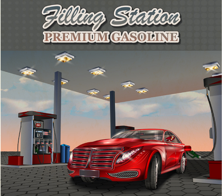 refueling: Car refueling on a filling station.Vector illustration.